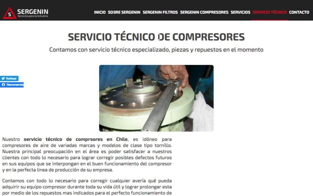 Sergenin, venta de compresores de aire y filtros coalescentes